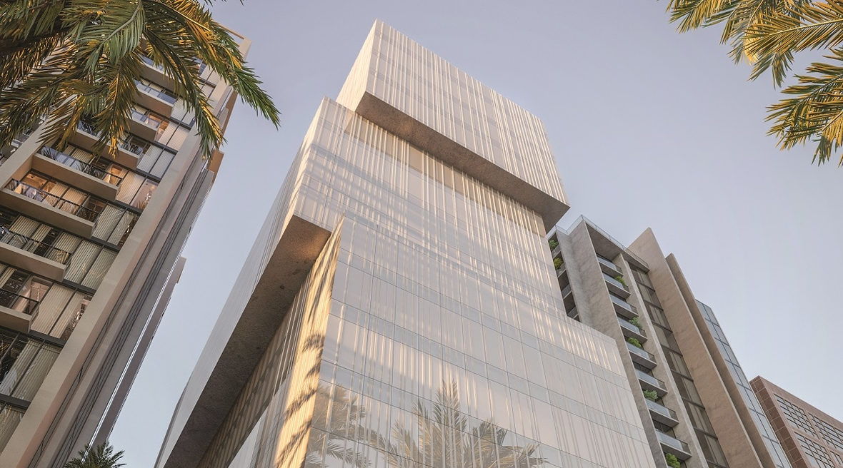 UK-based OAOA have designed an office building in Bahrain with panoramic views of the city and seascape beyond