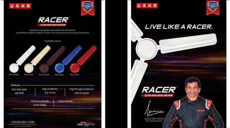 Usha launches Racer range of fans with Narain Karthikeyan