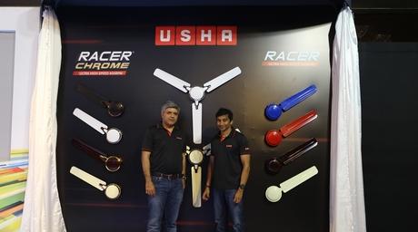 Usha International launches Racer Chrome Fans with F1 racer Narain Karthikeyan