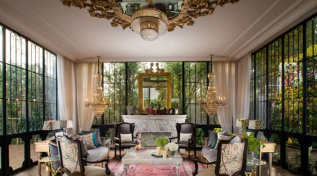 Beyond Designs creates a pool house that is ornate, luxurious and inspired by neoclassical elements