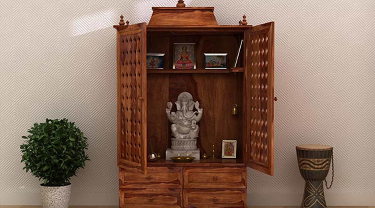 Surface-mounted home temple with ample storage drawers