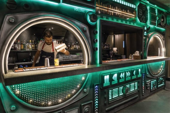 The boombox bar is designed to be synonymous with the brand Tipsy Gypsy.