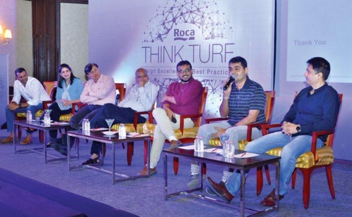 The panel at Surat: (L-R) Vishal Shah, Azmi Wadia, Sanjay Punjabi, Yatin Pandya, Dinesh Suthar, Snehal Shah, and Jignesh Modi.