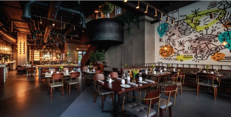 Designed along an industrial theme, the eatery is inspired by Manhattan's chic dining venues.
