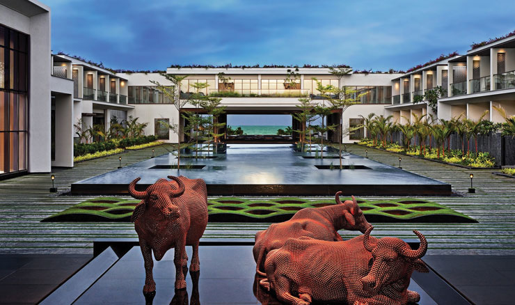 A small herd of copper water buffaloes makes an arresting installation at the entrance of Sheraton Grand Chennai Resort & Spa. A series of frames directs the eye to the azure waters of the Bay of Bengal.