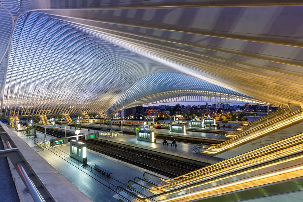 Santiago Calatrava's Liege railway station in Belgium is an exemplary steel structure.