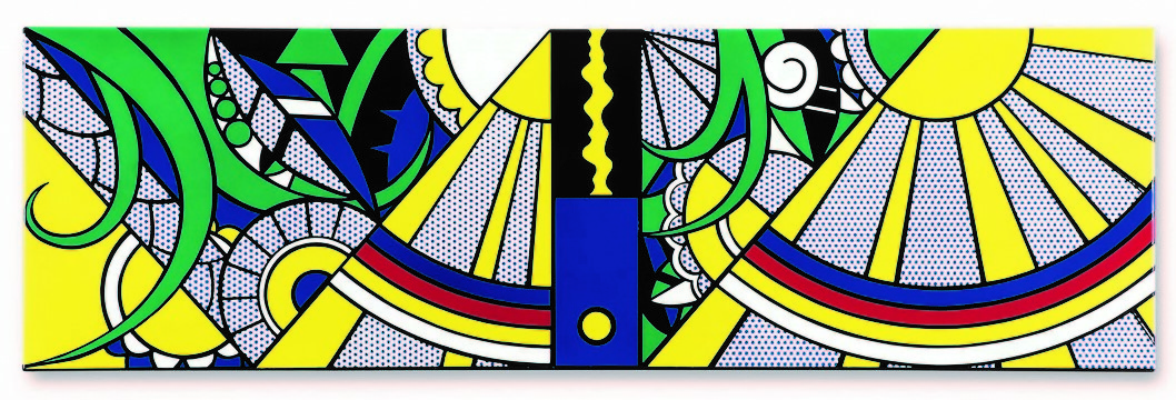 The panel combines aspects from Lichtenstein's Art Deco and Modern Paintings series.