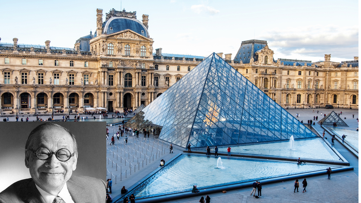 IM Pei, Louvre Museum, Paris, Legacy, Prolific, Iconic, Architect, Legendary, Guangzhou, USA, MIT, Pennsylvania, Harvard, Bahaus, Walter Groupius, Mies van der Rohe, National Center for Atmospheric Research, Boulder, Colorado, Modernist, Rocky Mountains, JFK Presidential Library and Museum, Musee du Louvre, Napoleon Square, French, Andre le Notre, Landscape, Egyptian artefacts, Pyramid, Glass panes, Transparency, Parisian