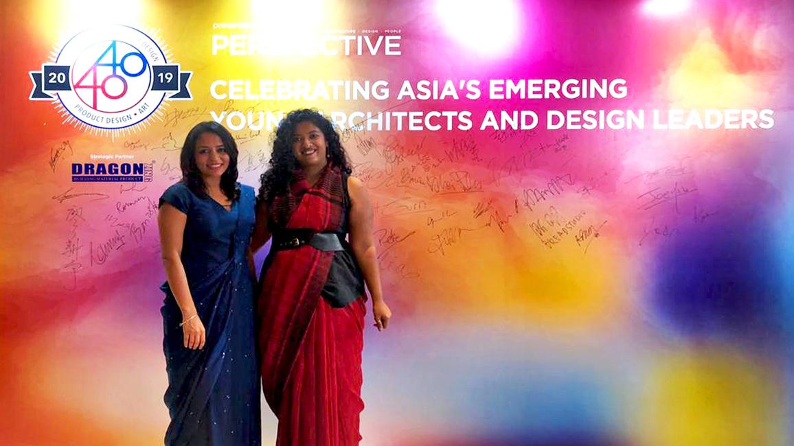 Studio Lotus' Asha Sairam and Pankhuri Goel at the Perspective 40 Under 40 Awards ceremony in Hong Kong