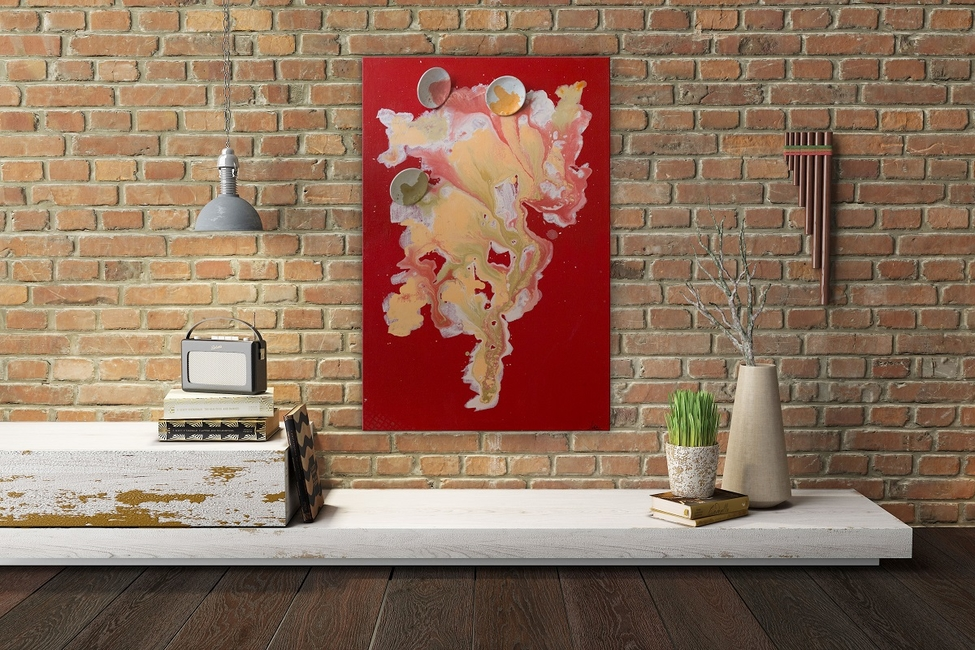 The blending of colours in the artworks is entrancing while the textures add animation to the walls.