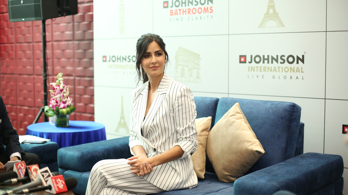 Bollywood actress Katrina Kaif, brand ambassador of H&R Johnson, at the launch of Johnson International
