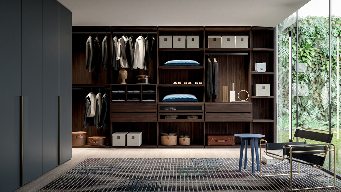 Cj living, Closets, Sophisticated closets, Smokey grey, Bronze, Accessories, Walk-in closet, Aesthetic palate, Italy, Space-efficient, Space-efficient design, Dall'Agnese's, Dall'Agnese's Armadi, Metallic matt lacquers, Dubai, Nepal, Pan-India