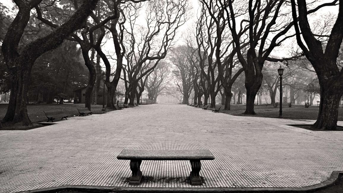 An evocative black-and-white photograph by artist Gerardo Korn