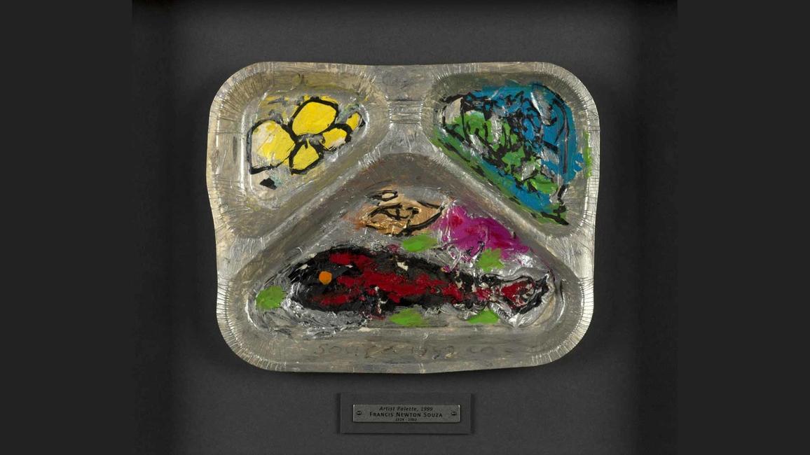 Lot 39: FN Souza's Palette - 1999, estimate Rs.2.5 - 3.5 lakh