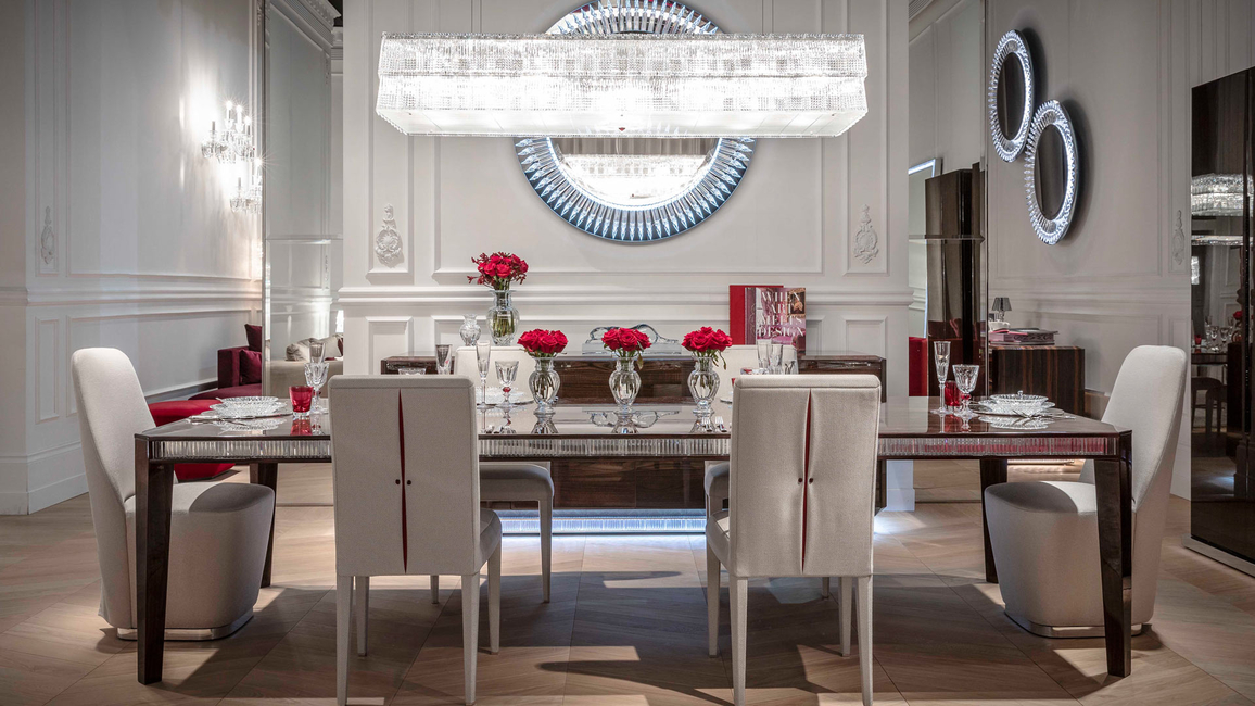 Baccarat La Maison, Crystal Studded  Furniture, Crystal Studded  Accessories, Seetu Kohli Home, Seetu Kohli, French crystals, French crystals legend, French craftsmanship, Grand Soiree Bar Cabinet, Jacques Grange, Phebe Small Square Suspensions, Chandelier, Clio Chair, Luxury brands, Ralph Lauren Home, Roberto Cavalli Home Interiors, Etro Home interiors, Gianfranco Ferre Home