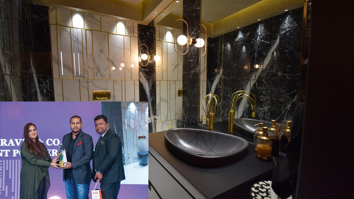 Powder room at Altas Apartment, Mumbai, designed by Jay Shah of Ravid & Co.