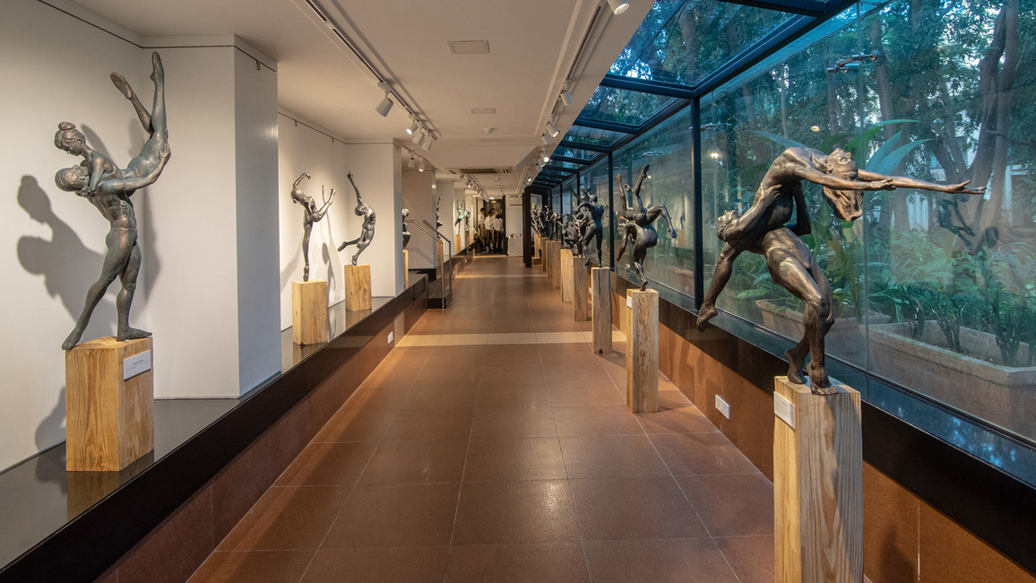 Installation view of Raj Shahani's exhibition of sculptures at the Jehangir Art Gallery in Mumbai