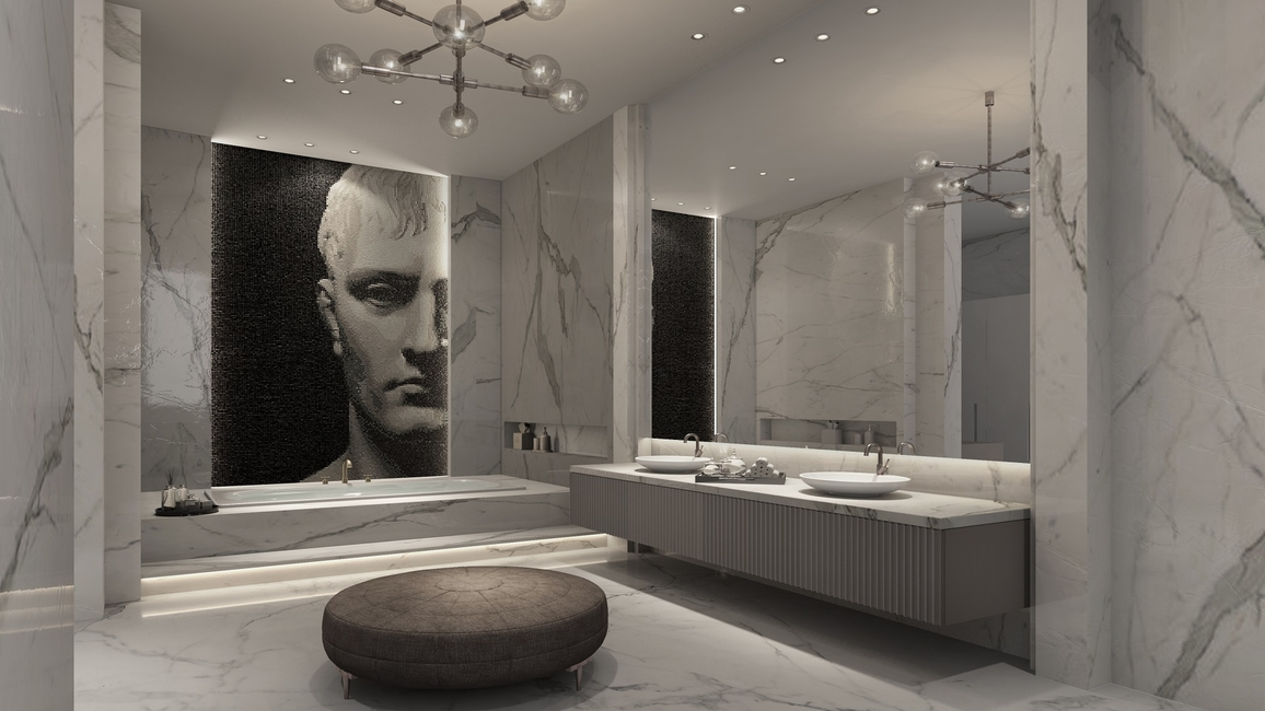 Aparna Kaushik, Design bathrooms, Collection of bathrooms, Msrble and Gold details, Michaelangelo, Art Accents, Skylight Feature, Rene Magritte, The luxurious Blue Breccia stone, Statement Light, Mademoiselle de Demidoff, Giovanni Boldini, Art in Mosaic, Antique brass polish