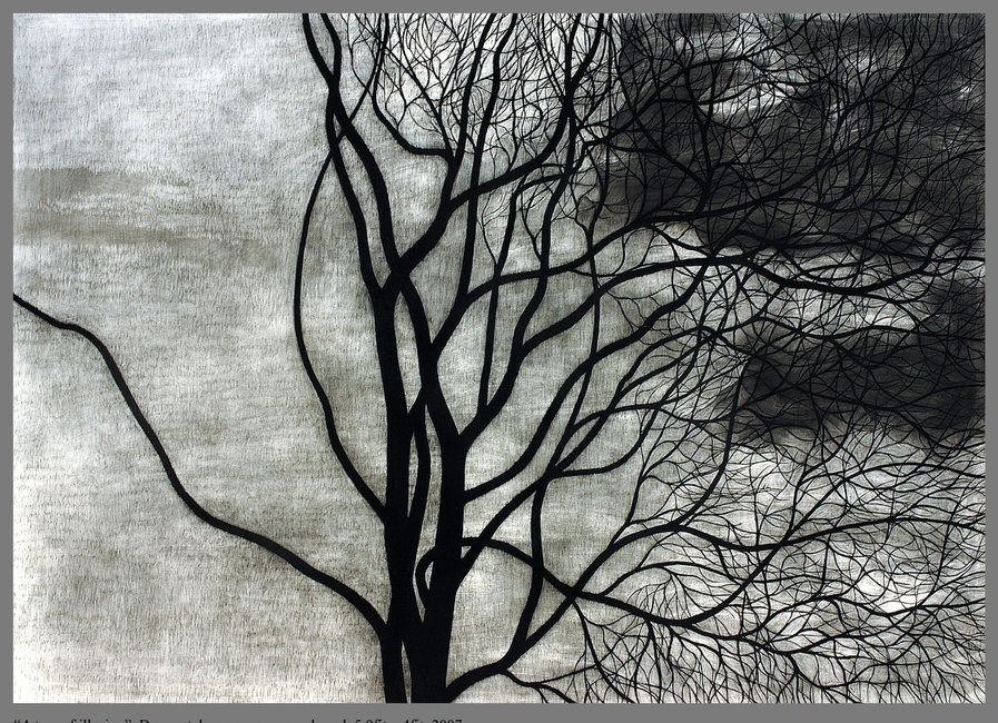 A Tree of Illusion, Dry Pastle, eraser, paper on board, by Ganesh Gohain