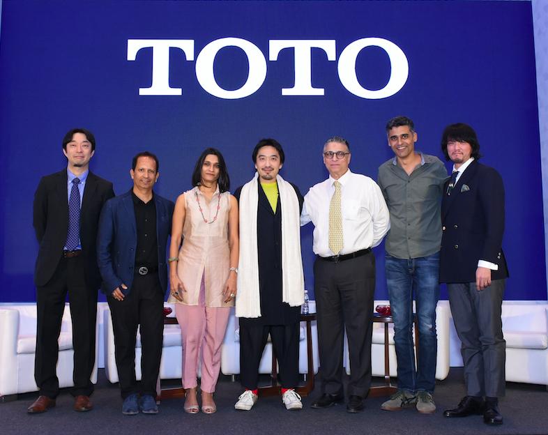 L-R, Mr Watai, Ar Sandeep Shikre, Ar Alpa Shikre, Ar. Tsuyoshi Tane, Ar Reza Kabul, Ar Alan Abraham, and Mr. Taro Muroi at TOTO Architect Meet, Mumbai
