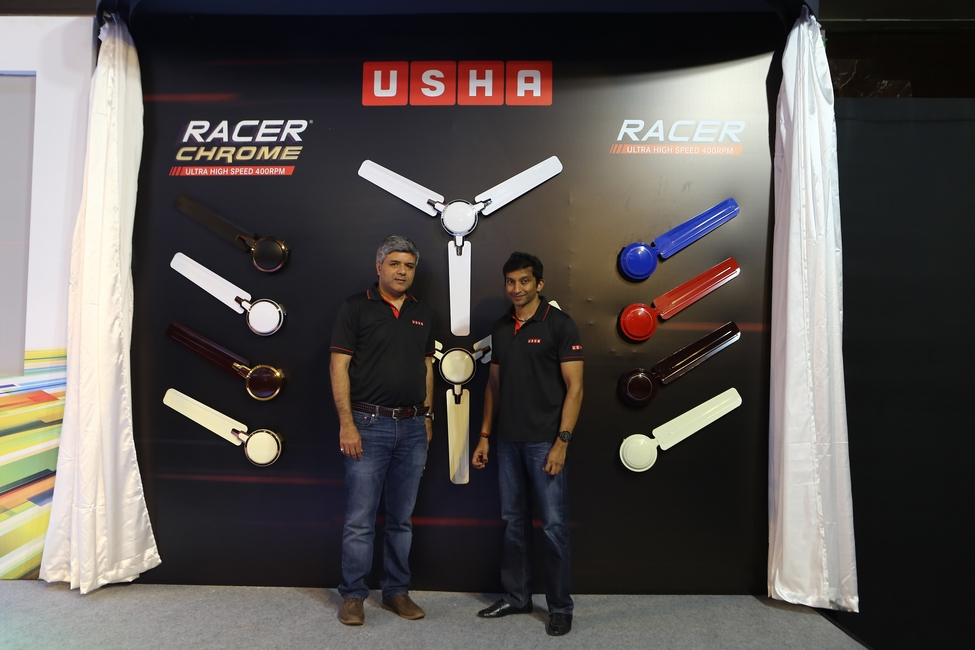 Usha brand ambassador, Mr. Narain Karthikeyan and Mr. Rohit Mathur , President, Electric fans and pumps , Usha International at the launch event of Racer Chrome  fans