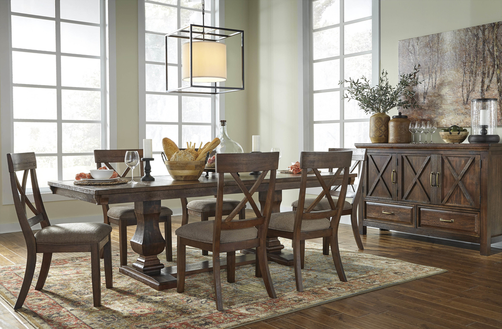 Ashley Furniture Home Store, Dash Square, Windville, Dining room furniture, Dining table, Dining chairs, Wooden furniture, Mango veneers, Engineered wood, Upholstered dining chairs