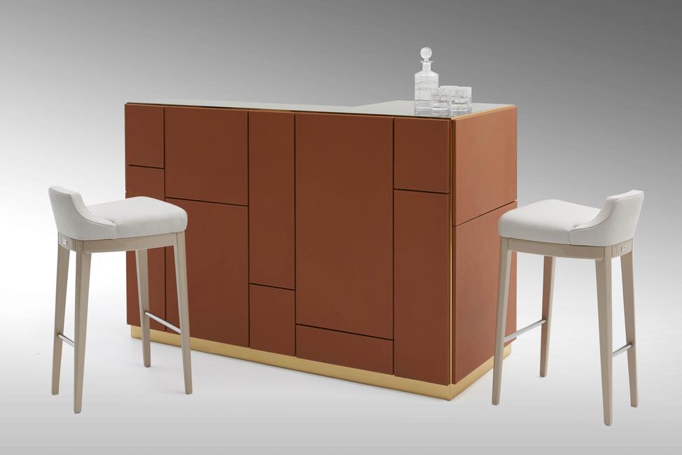 Seetu Kohli Home, Fendi Casa, Boston bar unit, Bristol stools, Leather Furniture, Home decor, Contemporary furniture, Luxury furniture, Iconic furniture brands