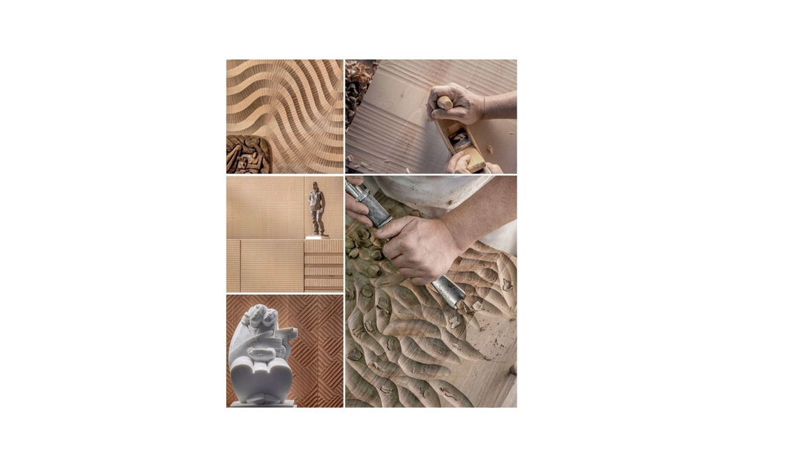 Fameed Khalique, Spring Summer 2020 design trends, 3D Engineered Wood Tiles, Sustainable tiles, Italian Walnut wooden tiles, Linden wooden tiles, Carved tile patterns, Engineered tiles for surfaces, Wooden tiles for surfaces