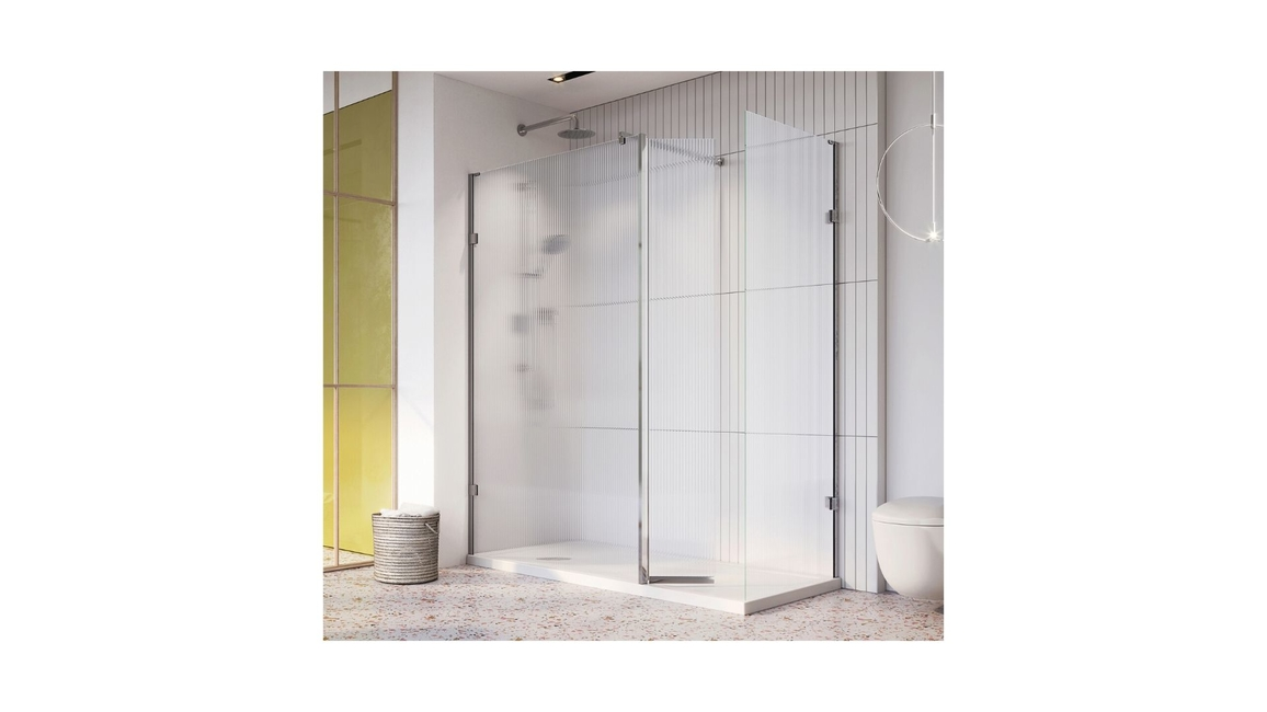 Roman, Liberty fluted glass wetroom panels, Shower designer and manufacturer, KBB 2020, Hotel Showers