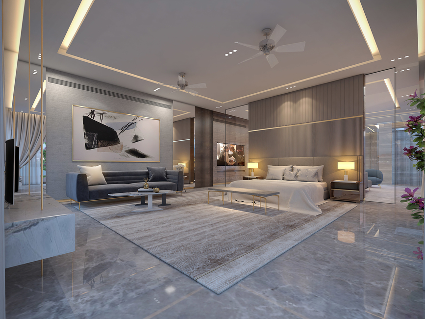 This luxurious bedroom in a monotone palette employs minimal décor with maximum impact – rich flooring and carpet, detailed wall cladding, sleek and elegant furniture pieces, abstract painting, finest materials and gold accents, etc.