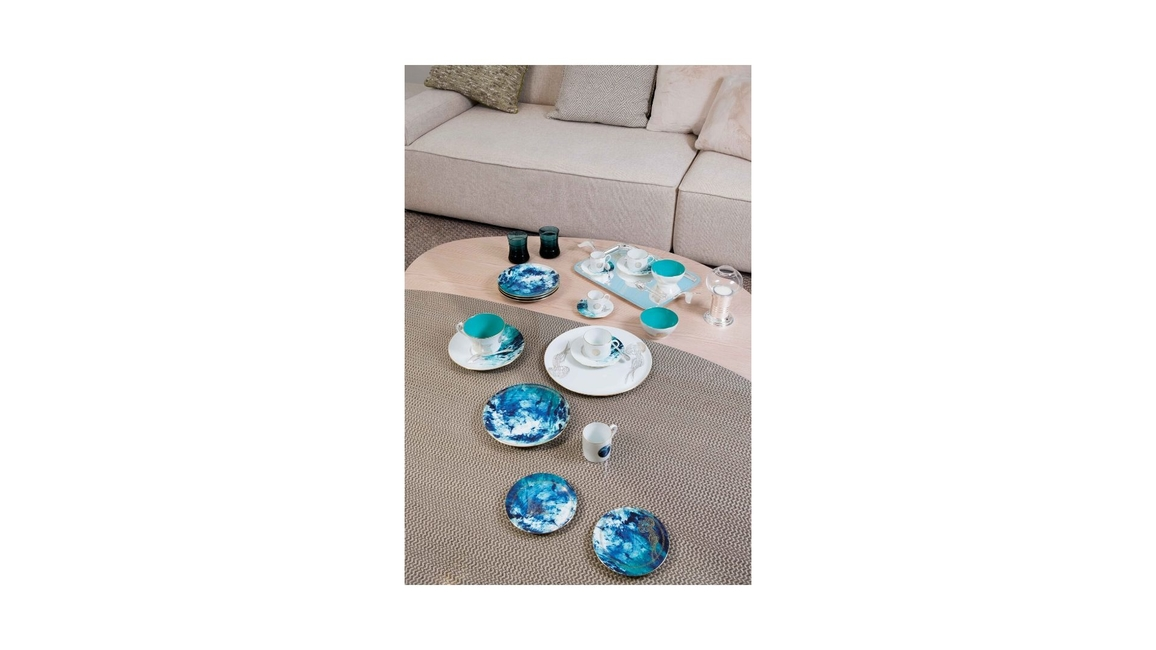 Haviland, Emery Studio, Ocean Bleu, Porcelain serveware, Handcrafted dinnerware, Home decor, Tableware