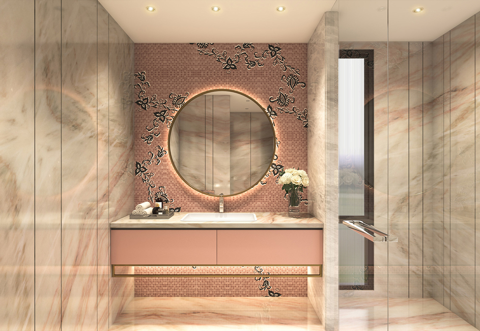 Aparna Kaushik, Bathroom vanities, Vanity rooms, Powder rooms, Contemporary bathrooms, Bathroom Design, Venetian mirror, Michelangelo stone, Marquina countertop, Black and white bathroom, Blush pink bathroom, White bathroom, Bathroom chandelier
