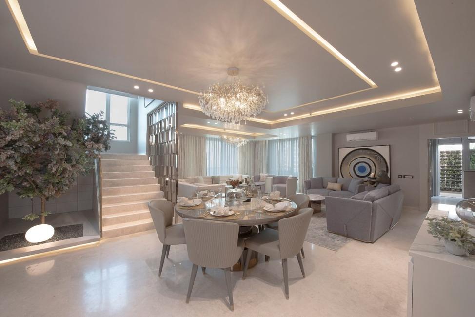 Essentia Environments, Penthouse design, Duplex apartment design, Residential design, Bottochino Crema floor, Essentia Environments furniture, Bespoke design, Asian Paints, Jainsons, DLF Crest Gurugram