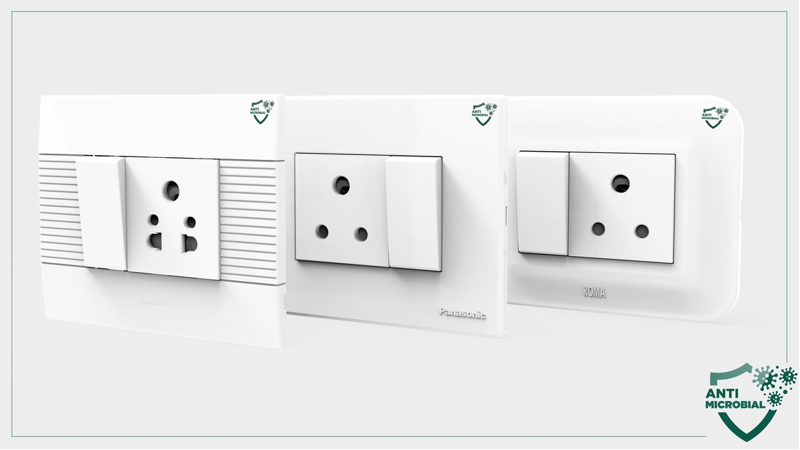 Panasonic Life Solutions India, Antimicrobial wiring devices, Anti-fungal, Healthcare technologies, Roma Classic, Roma Plus, Roma Urban, Europa and Vision, Antibacterial electrical switches, Antibacterial Sockets