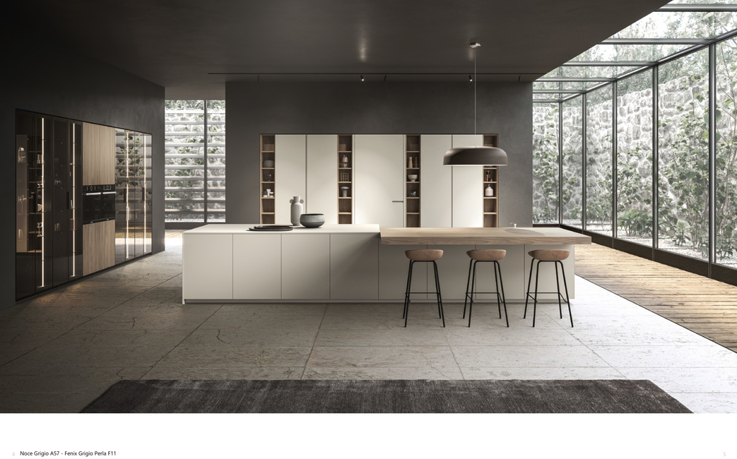 Aster Cucine, Atelier collection by Aster Cucine, Kitchen interiors, Sliding breakfast counter, India, Ottimo