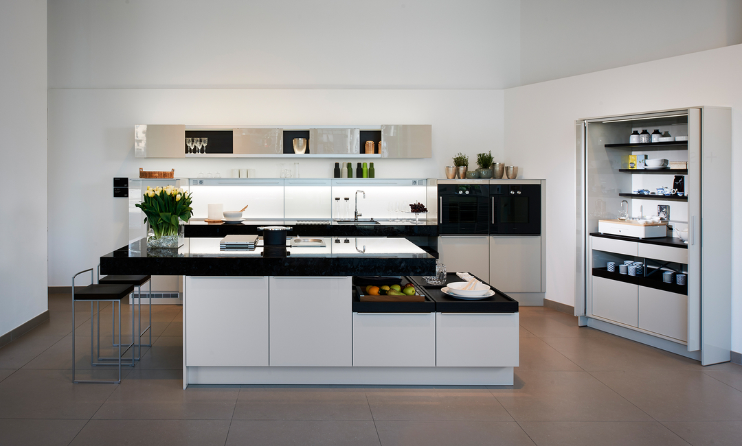 Plüsch, Poggenpohl + STAGE kitchen unit, Kitchen units, Contemporary kitchens, Customised kitchen units, Bar units, Breakfast cupboards, Home office, Tea stations