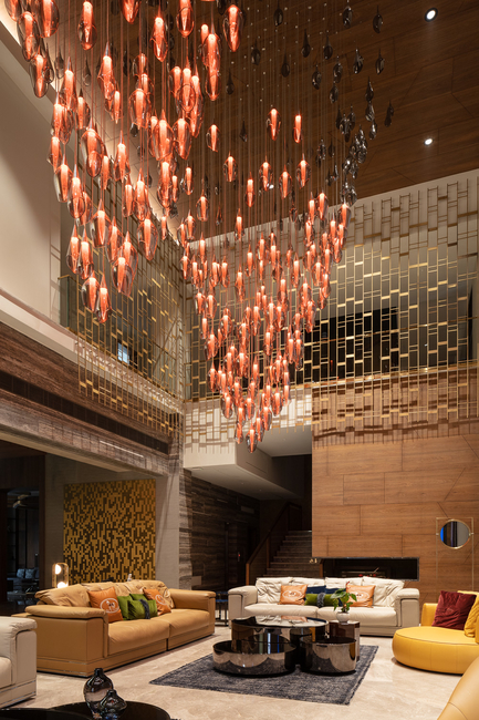Sans souci, Villa lighting, Hyderabad villa, Sans Souci Aurora component, Double height space