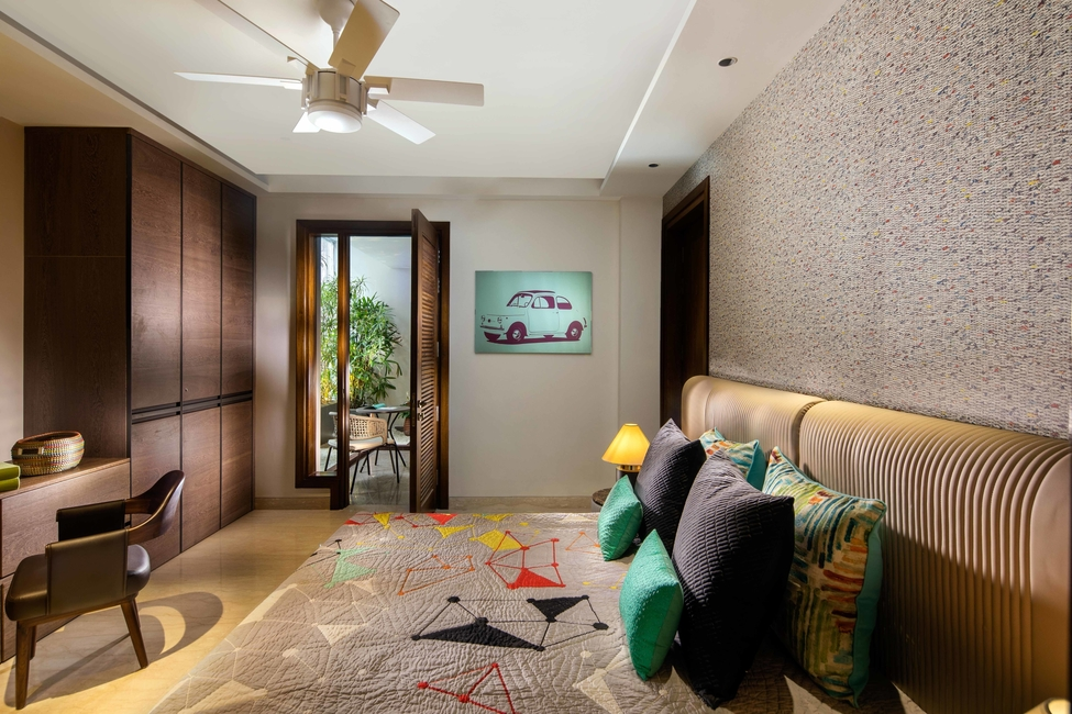 Pramod Group, Elegant bedrooms, Warm colour palettes, Comfortable headboards, Nightstands, Study desks, Wardrobes
