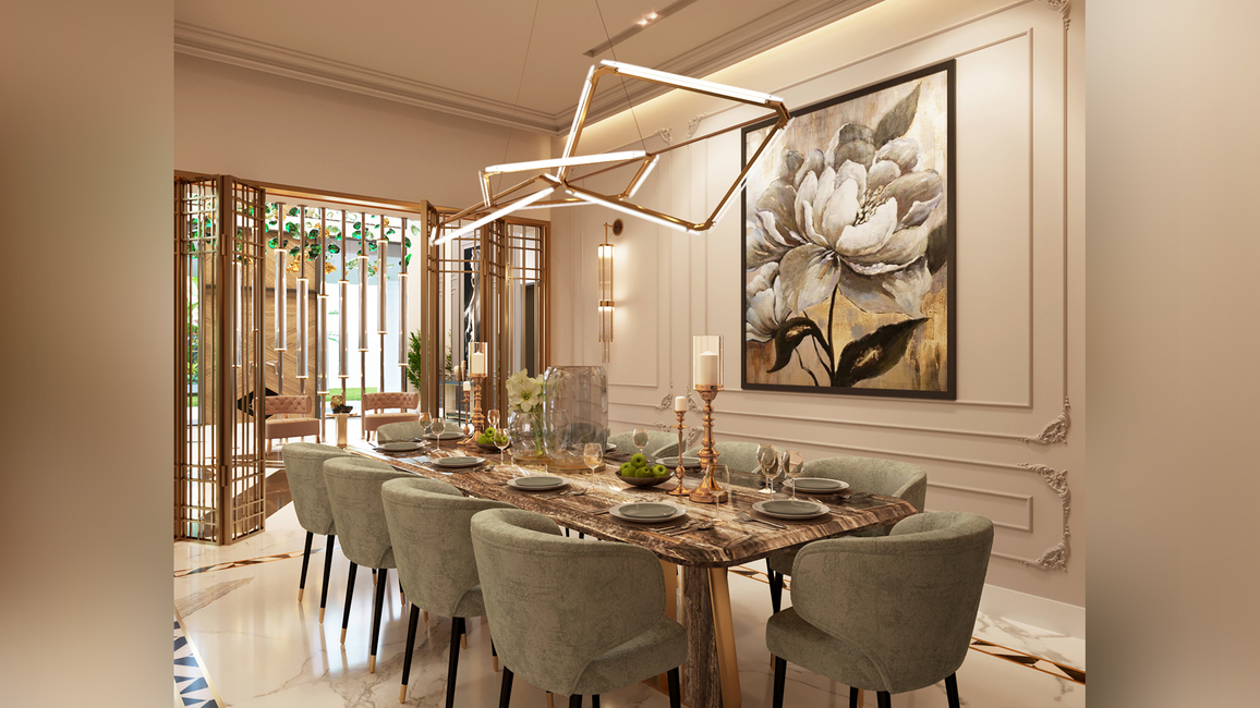 MADS Creations, Bespoke dining space, Stone dining table, Dining room décor, Home decor